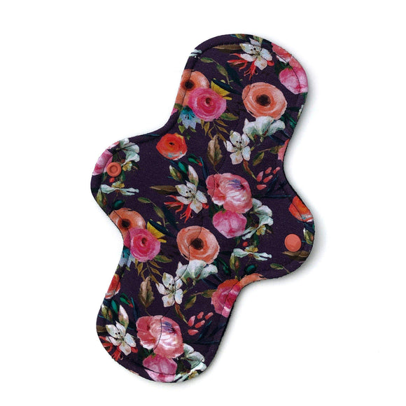 Moderate Absorbency Cloth Pads: Bold Grape Floral-Wishy-Washy Cloth