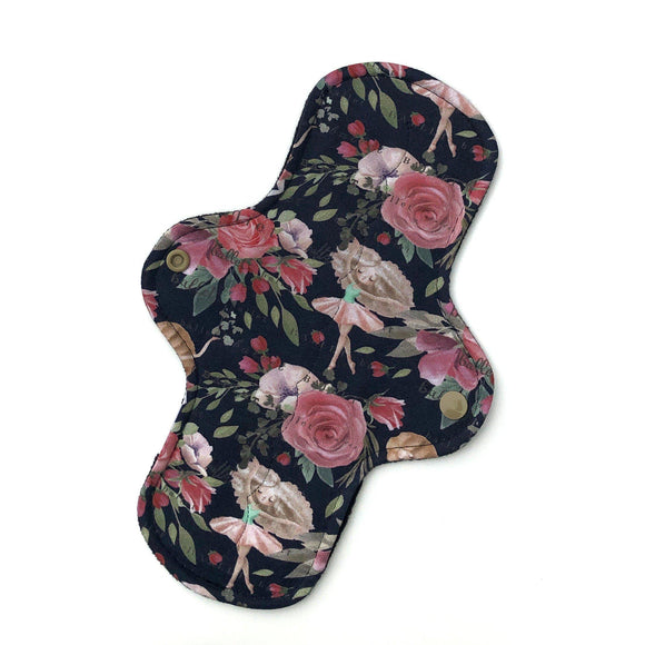 Moderate Absorbency Cloth Pads: Ballet Floral-Wishy-Washy Cloth