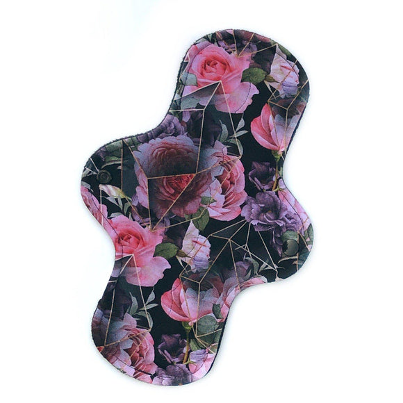 standard moderate absorbency cloth reusable pad in a beautiful geo floral