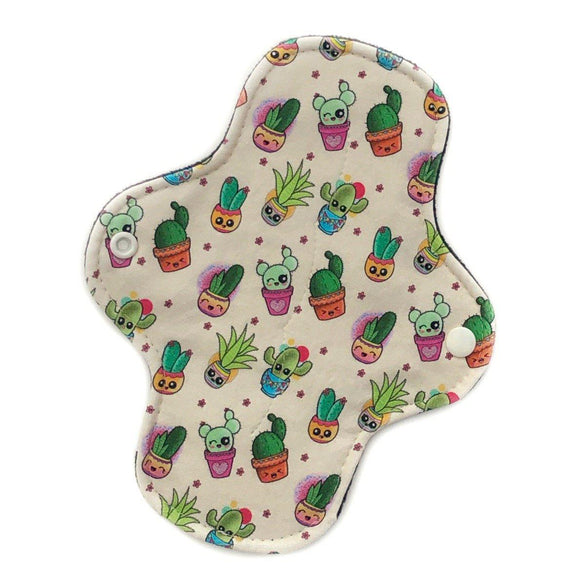 light absorbency reusable cloth pad kawaii cacti print