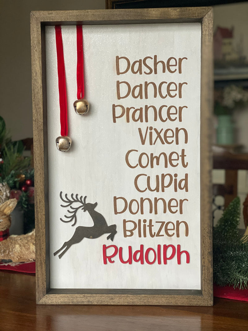Reindeer Names with Bells 12x20 Wood Christmas Sign