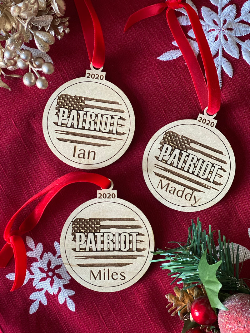 Patriot Personalized Name Ornament