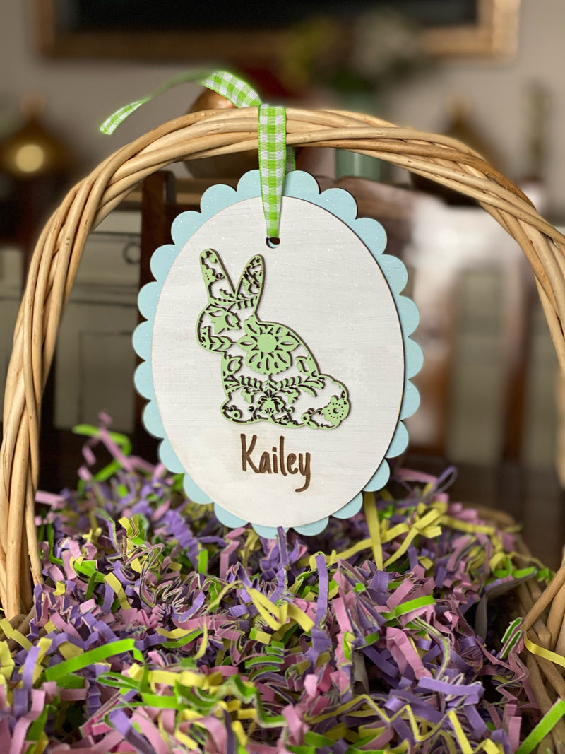 Scalloped Easter Egg Tiered Tray Basket Decor