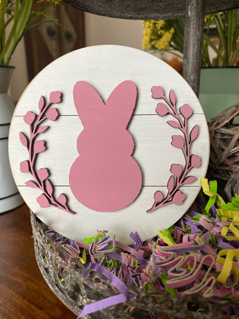 "5"" Round Bunny/Wreath Tiered Tray Easter Decor"