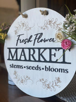 Farm Fresh Market Hanging Round Wall Sign