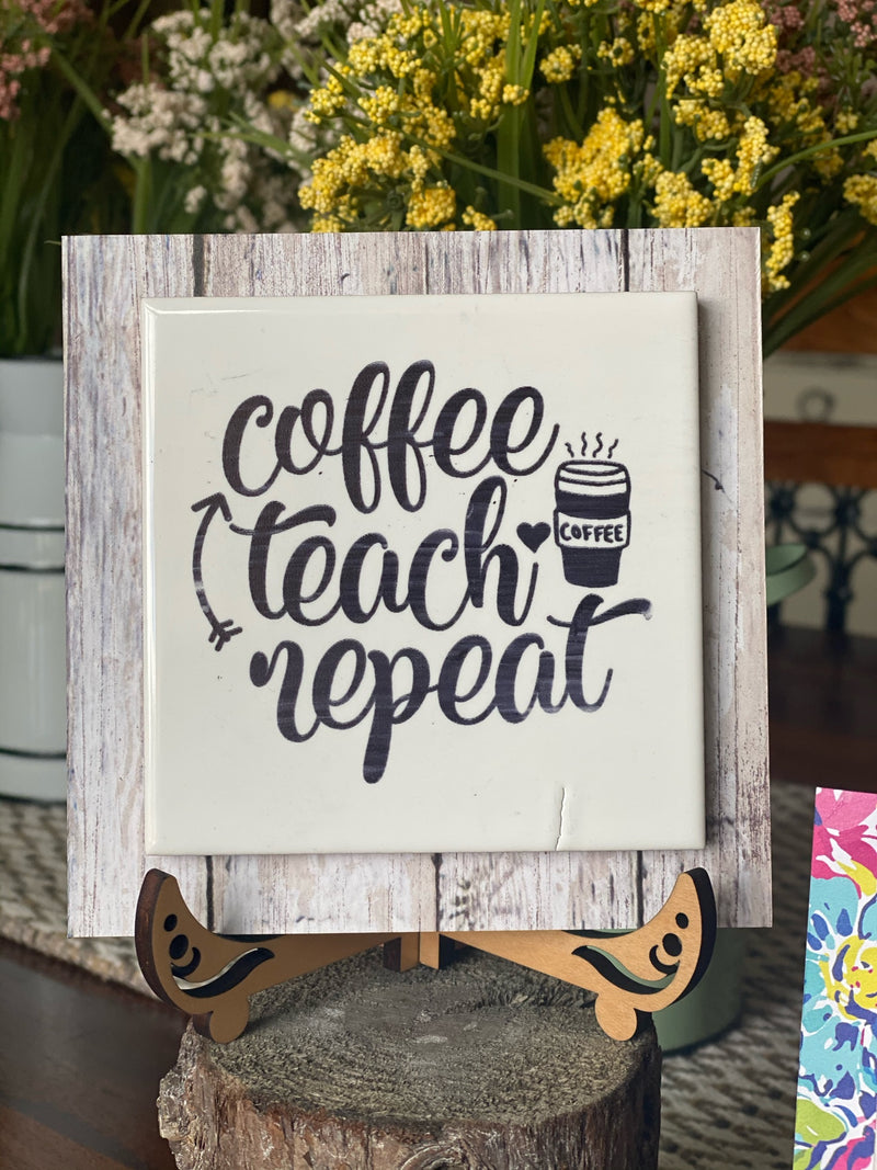 Teacher Engraved Tile Coffee, Teach, Repeat
