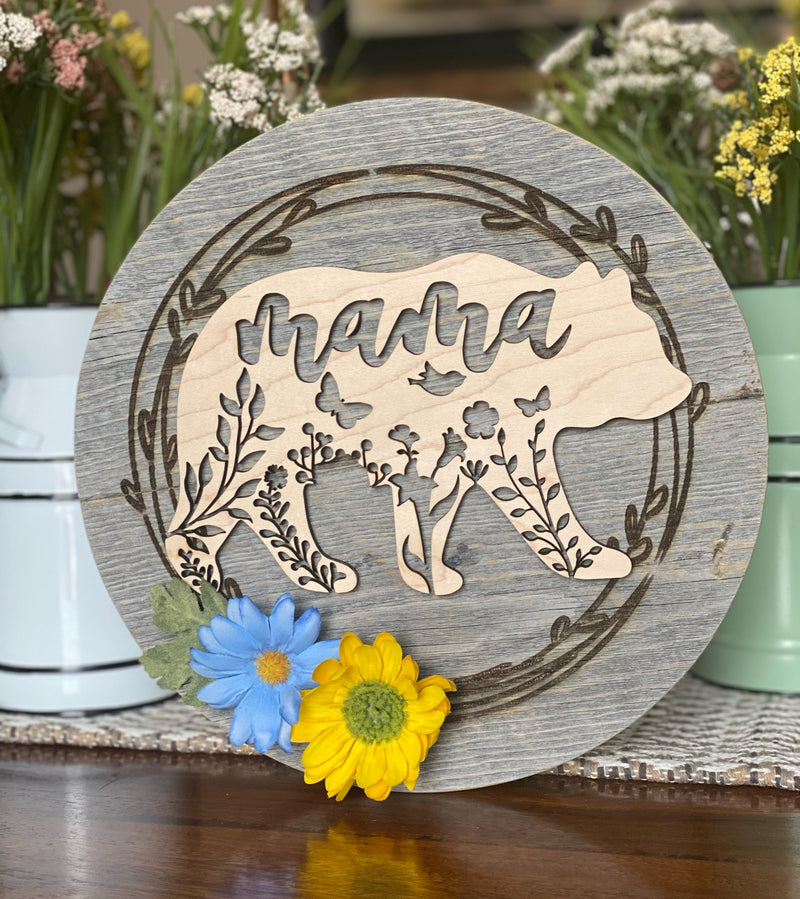 Maple Wood Mama Bear Reclaimed Barn Wood Hanging Sign