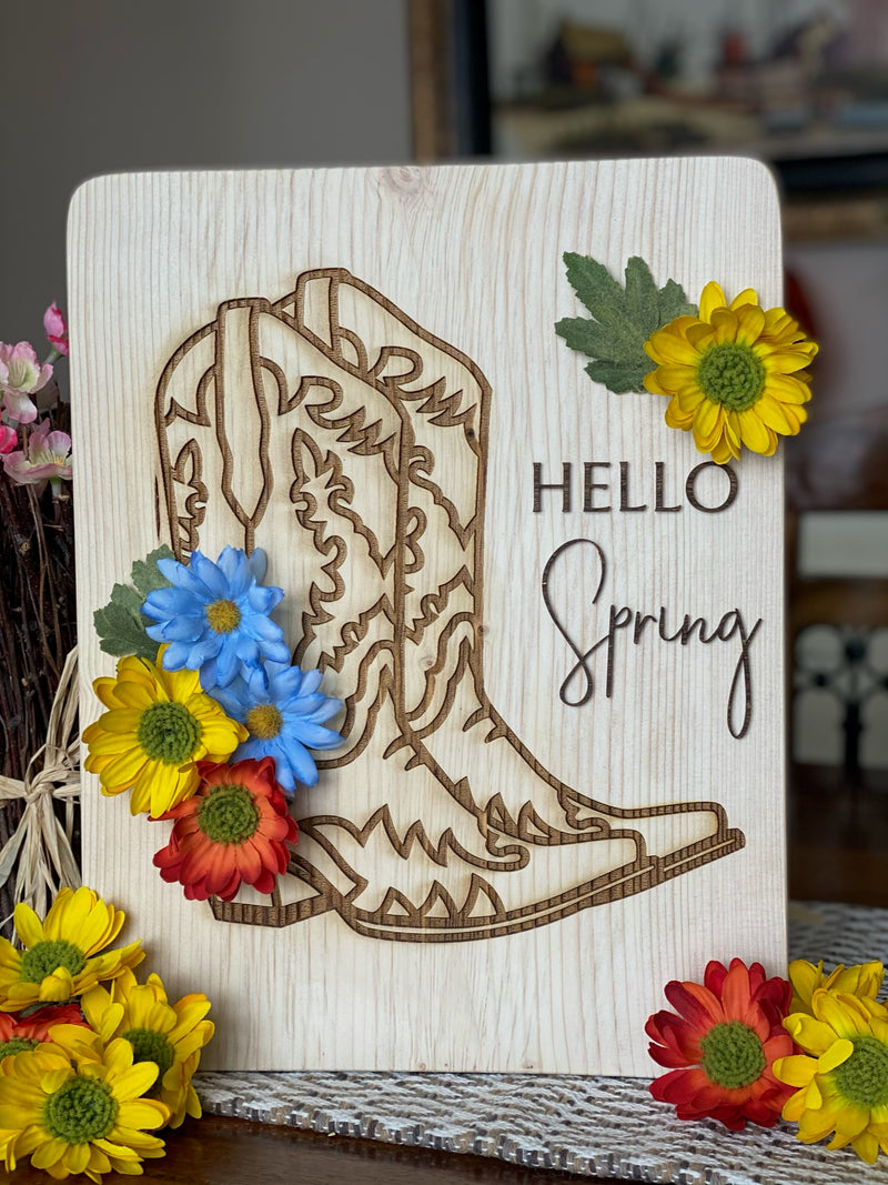 Hello Spring Cowboy Boot with Flowers 11x14 Sign