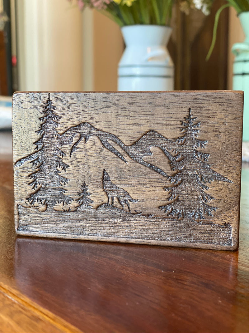 Walnut Hardwood Outdoor Scene Wood Block