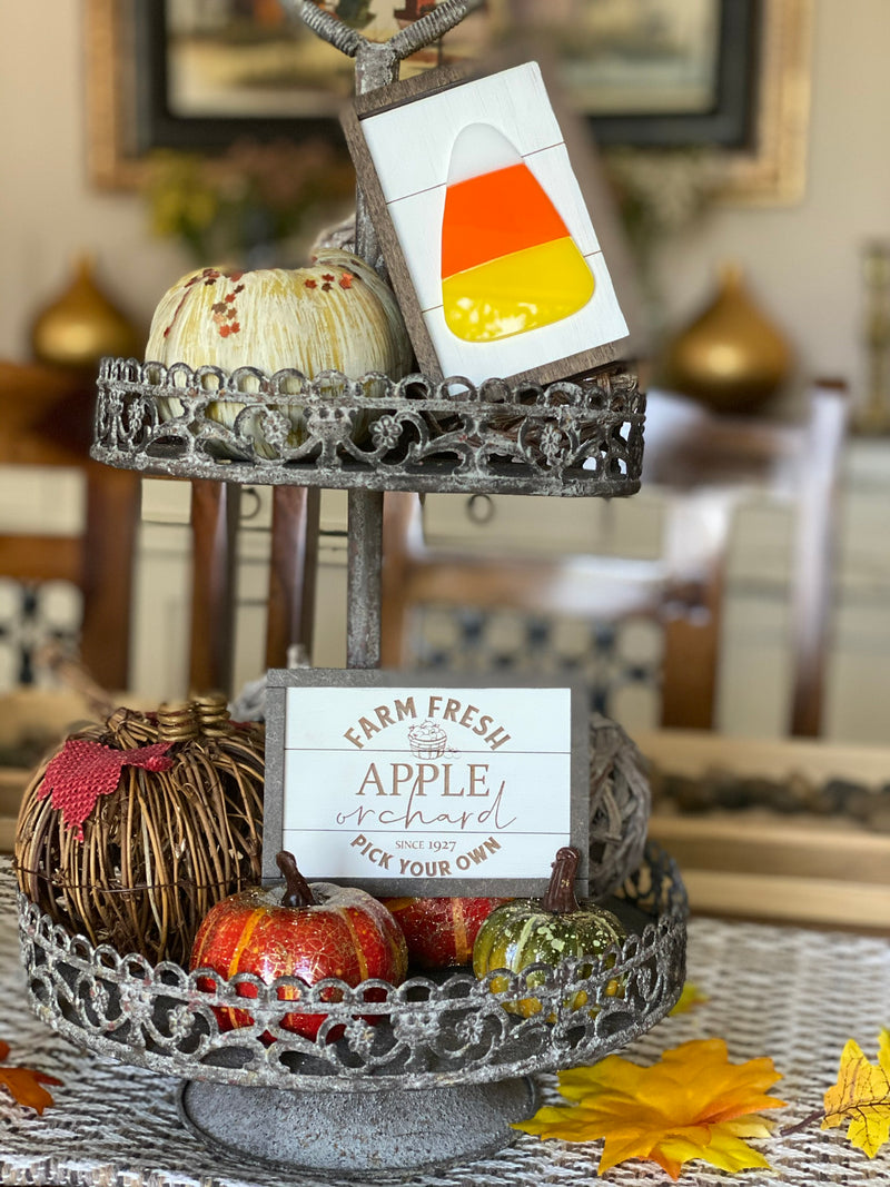 Tiered Tray Candy Corn Decor