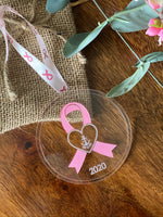 Delta Gamma Anchor Breast Cancer Ornament