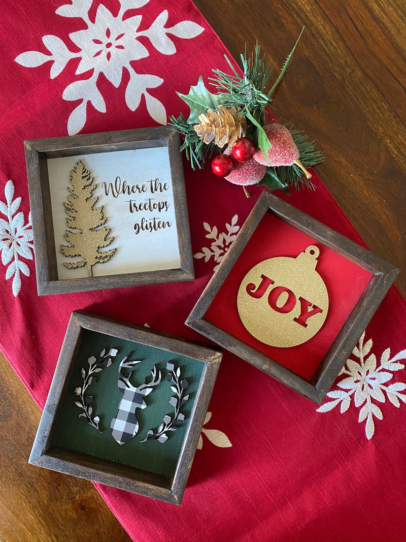 Treetop Glistening 5x5 Christmas Framed Sign