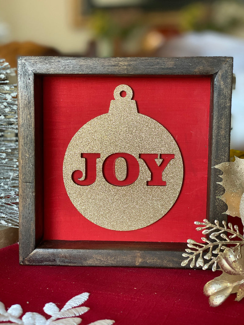 Joy Ornament 5x5 Christmas Framed Sign