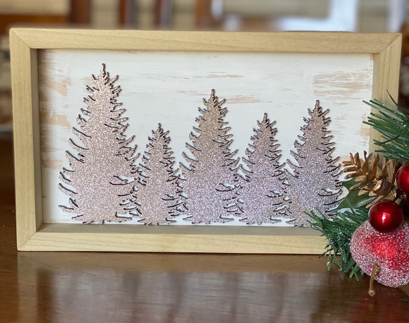 Framed Glitter Trees