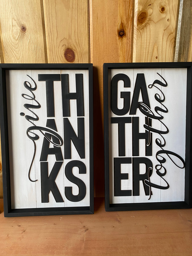 Give Thanks/Gather Together Framed Wood Signs