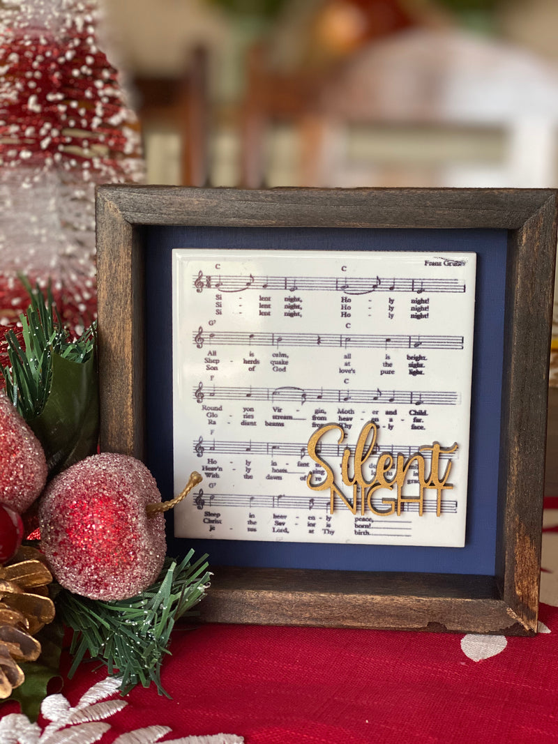 Engraved Tile Silent Night 5x5 Sign