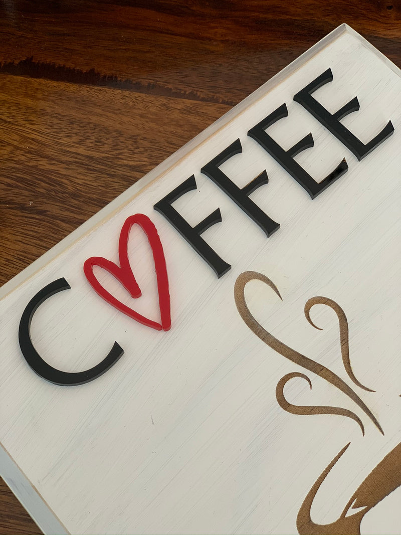 Coffee Wood Sign with Heart Outline