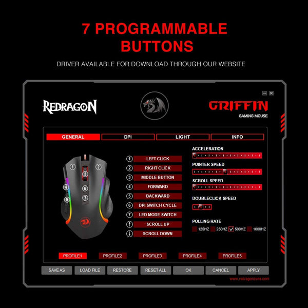 Redragon M607 griffin wired gaming mouse best price in Pakistan