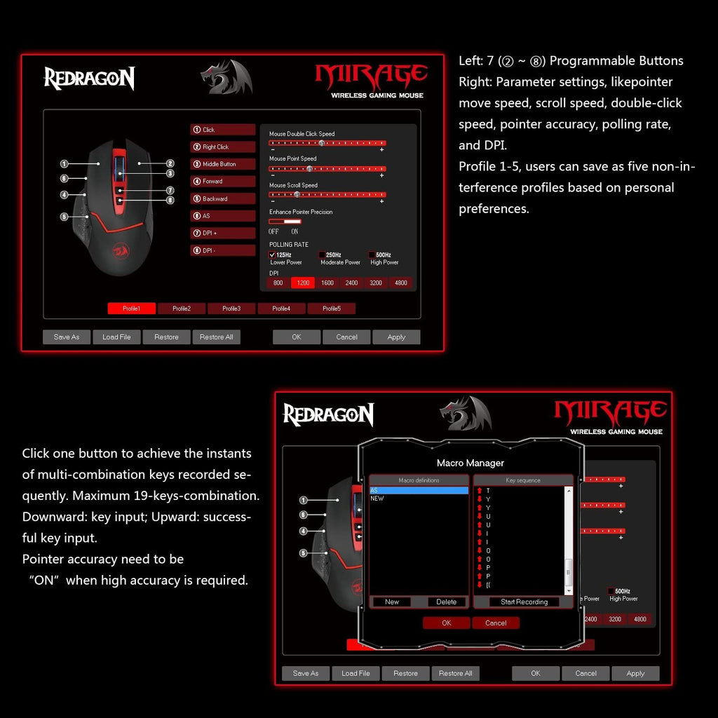 Redragon M690 mirage wireless gaming mouse best price in Pakistan