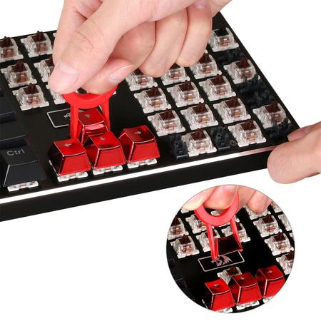 Redragon 103R Keycaps for Mechanical Switch Keyboards with Key Puller (Electroplated Red)