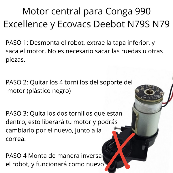 Motor rodillo central + correa + tornilleria Cecotec Conga Excellence, 990 y Ecovacs N79S N79 + 1090 y 1090 Connected