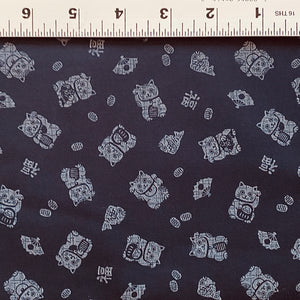 Indigo Lucky Cats Fabric
