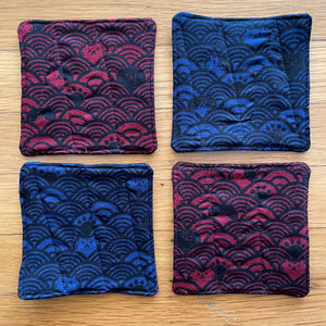 Blue & Red Cat Textile Coaster Set