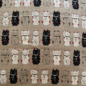 Tan Lucky Cats Cushion Cover
