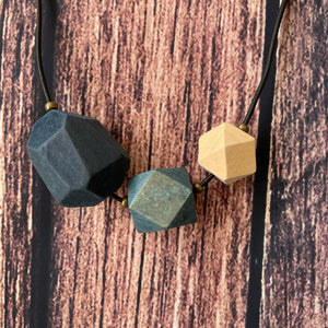 Geometric Indigo Dyed Wooden Necklaces