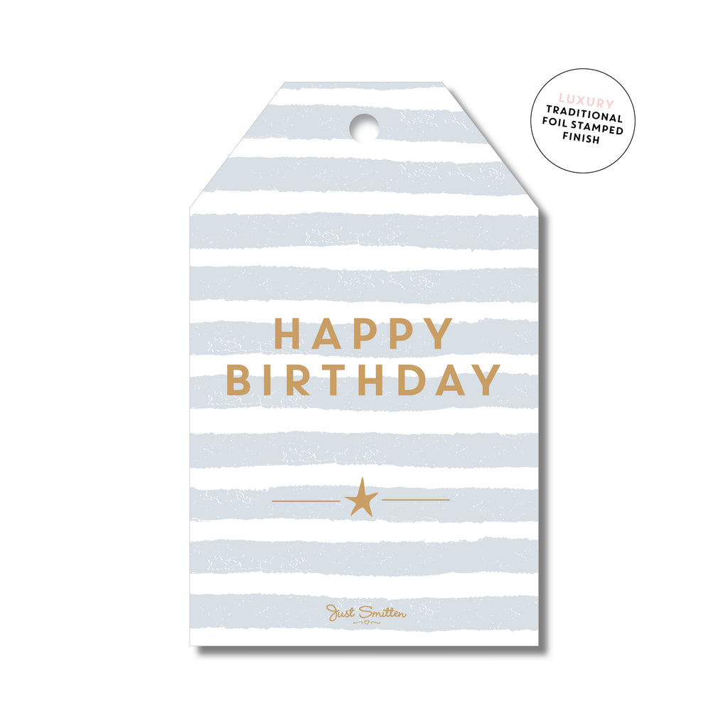 STRIPEY BIRTHDAY - GREY