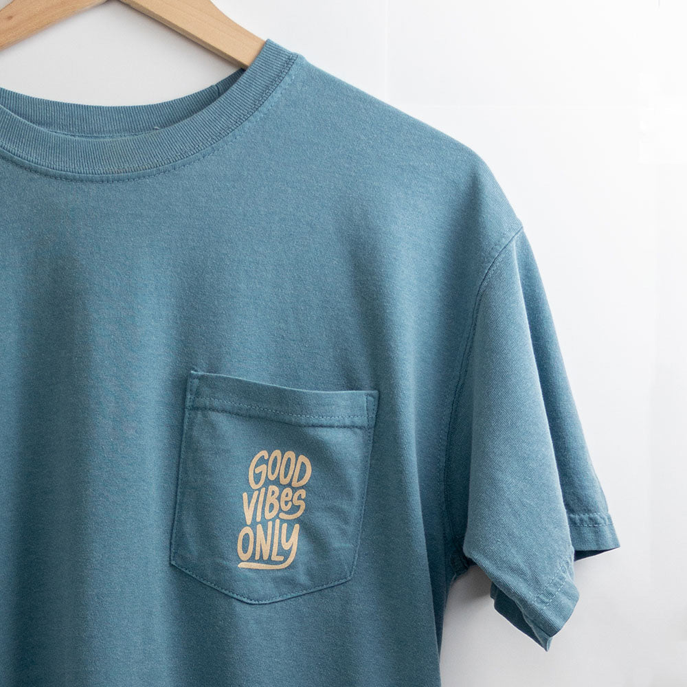 Good Vibes Only Pocket Tee – Lake Travis Blue