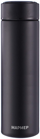 MAPMEP Water Bottle, Vacuum Insulated Wide Mouth Stainless-Steel (Black,500ML)