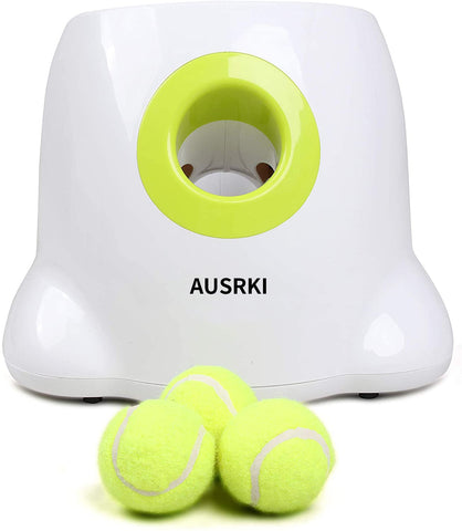AUSRKI Automatic Ball Launcher Dog Interactive Toy 3 Tennis Balls Included Launch Distance