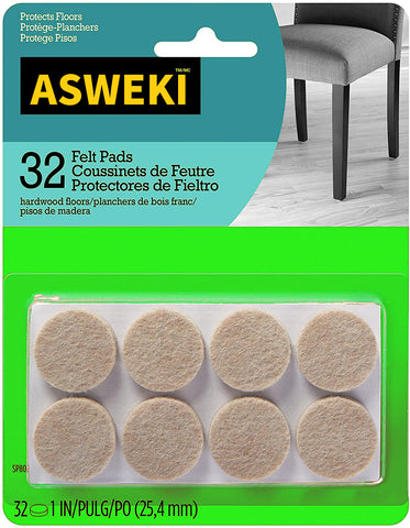 ASWEKI Felt Pads, Chair Pads Round, 1 in. Diameter, 32/Pack