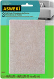 ASWEKI Felt Pads, Rectangle, Beige, 4 in. x 6 in., 2 Pads/Pack