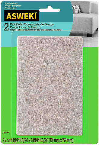 ASWEKI Felt Pads, Chair Pads, Rectangle, Beige, 4 in. x 6 in., 2 Pads/Pack