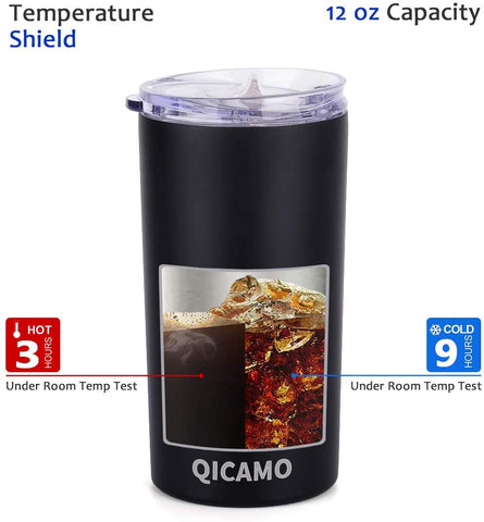 QICAMO 12oz Tumbler with Lid, Insulated Coffee Travel Mug, Black