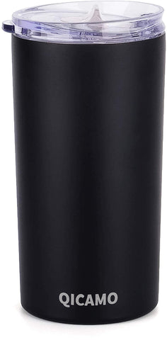 QICAMO 12oz Tumbler with Lid Insulated Coffee Travel Mug Black