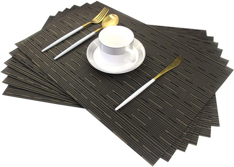 POJORY PVC Woven Non-Slip Washable Placemats Black