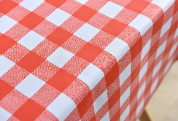 DOYNOS Vinyl Tablecloth 54 x 78 Inch 100% Waterproof Red and White
