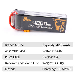 Auline 4200mah 4S 45C XT60 for 7inch FPV Long Range and Wing & Heli