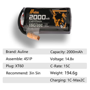 Auline 2000mAh 18650 4S 14.8v 30c Burst for Cinewhoop 5inch FPV & Wing Long Range Flying