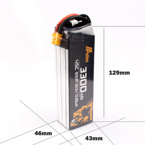 Auline 3300mah 6S 22.2v 45C XT60 for 7INCH FPV and Wing Long Range