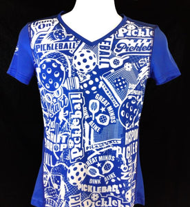 "Elite Performance by ""Headsweats""  Women's ""Royal Blue Front Print"" Short Sleeve"