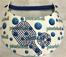 "Load image into Gallery viewer, ""No Headache Foam"" Sun Visor – "" Bold and Blue Pickleball"""