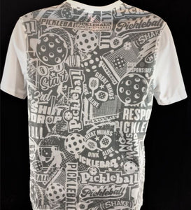 "Elite Performance by ""Headsweats"" Men's ""Grey & White with Front and Back Print"" Short Sleeve"
