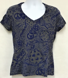 Women's- V-Neck Smokey Gray Shirt  with BLUE Stain