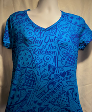 Load image into Gallery viewer, Women's- V-Neck Tantalizing Teal Shirt with BLUE Stain-CLOSE OUT SALE