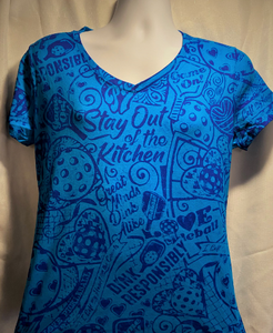 Women's- V-Neck Tantalizing Teal Shirt with BLUE Stain-CLOSE OUT SALE