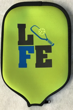 "Load image into Gallery viewer, Pickleball Paddle Cover ""Life"" Lime Green Cover"